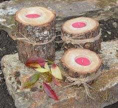 #Looking for a #Natural #Log #Candle #Holder - #Bathroom, #Fireplace, #Patio Set of 3 Candle Holder a beautiful piece of wood.. would make a perfect gift for Christmas, something a little different. http://www.heavenscentlogs.com