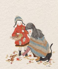 248 images about s.hee collection on We Heart It Autumn Illustration, Children's Book Illustration, Watercolor Illustration, Korean Illustration, Korean Artist, Graphic, Cat Art, Illustrations Posters, Illustrators