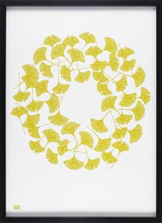 Ginkgo in Yellow Moss Print - GBP 43.00 » about $42.00  This simple ginkgo print would be arresting all by itself, but three or six of them would take on modern flavor in a triptych or grid.