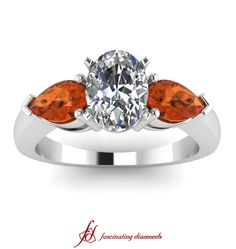 Double Drop Ring ||  Oval Shaped Diamond Three Stone Ring With Orange Sapphire In 14K White Gold