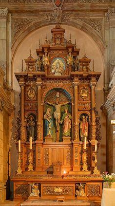 Interior of Saint-Maimbœuf Church in Montbéliard (Doubs, France), taken in HDR.