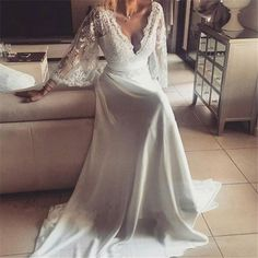 Boho Style Long Sleeve V-neck Long A-line Lace Chiffon Wedding Dresses, WD0096 The wedding dresses are fully lined, 4 bones in the bodice, chest pad in the bust, lace up back or zipper back are all av