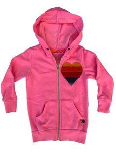 HEART ZIP HOODIE - NEON PINK