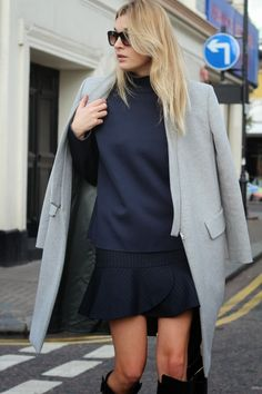 plaid skirt / over the knee black wedge boots / oversize grey coat