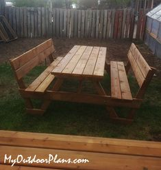 DIY 6 ft Picnic Table with Backrests Wooden Picnic Tables, Picnic Table Plans, Wooden Playhouse, Diy Shed, Play Houses, Woodworking Plans, Pergola, Bbq, How To Plan