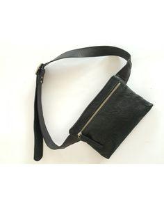 LEATHER Hip Bag BeltHip Purse Black waist bag travel by meandbags