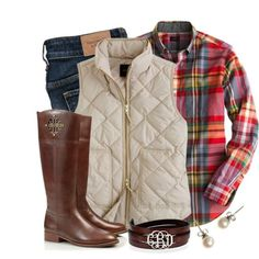 PLAID FOR FALL flannel plaid shirt, cream puff vest, dark jeans, brown boots - fall / winter