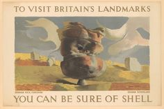 Shell Oil launched one of its most successful ad campaigns, Visit Britain, during the 1930s. This poster is from that series. The goal of these advertisements was to promote driving as a leisure pursuit which allowed drivers to sightsee around the British Isles while enjoying a drive - and by extension, filling their gas tanks with Shell brand petrol. Graham Sutherlands abstracted interpretation of Brimham Rock in Yorkshire is similar in style to surrealist landscapes of the period.