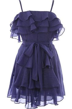 Frilled Indigo Frock: Features fully adjustable spaghetti straps, three tiers of ruffles surrounding the neckline, adjustable ribbon belt at waist, and extra ruffles cascading down the skirt to finish.
