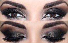 Olho esfumaçado preto com dourado