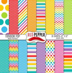 """Digital Paper - Rainbow Pop Mixed Patterns, great for Kindergarten art projects.Product Description:Size: 12""""x12""""File Format: Jpeg at 300dpiTerms of Use (TOU)All free and paid graphics may be used for personal and/or commercial use, such as:Classroom Printables, Party Printables; Cards and Invitations; Classroom Crafts; Lesson Plans; Scrapbooking, Photography, Stickers; T-shirt Prints; Vinyl Cutting or Decals; Embroidery and more.No additional licenses are required, however, credit back to…"""