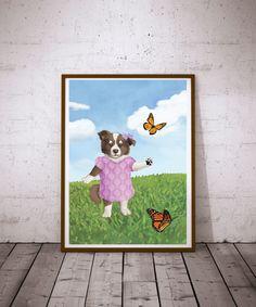 Girls Room Art Puppy Art Print Dog Print Puppy by TheButtonBird