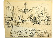 Sketch of interior room with description. Marker on tracing paper.