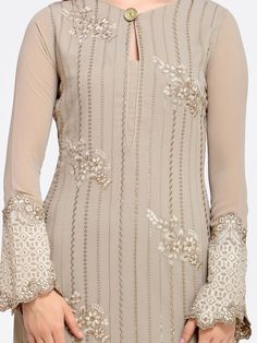 Best 12 Buy Saree Mall Taupe Poly Georgette Semi Stitched Dress Material – Dress Material for Women 6624482 Indian Designer Outfits, Indian Outfits, Designer Dresses, Kurti Embroidery Design, Embroidery Dress, Simple Embroidery, Kurta Designs Women, Blouse Designs, Kurta Neck Design