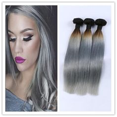Human Hair Weaves Latest Collection Of Pre-colored 2 Tone Blue Brazilian Hair Weave Bundles Straight Ombre 3 Bundles T1b/blue Dark Roots Human Hair Extensions Non Remy Various Styles