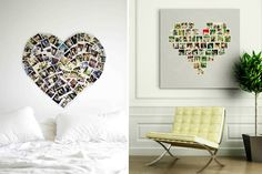 Use photographs and Polaroid pictures from your travels to create a large heart collage for your home. | #travelDIY #photocollage
