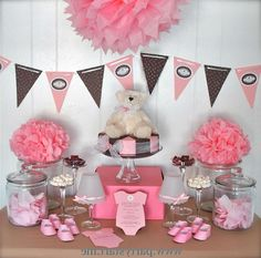 Baby shower para niña en rosa y marron