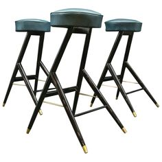 Italian Set of Bar Stools | From a unique collection of antique and modern stools at https://www.1stdibs.com/furniture/seating/stools/ Bar Counter For Sale, Bar Stools For Sale, Counter Bar Stools, Ottoman Stool, Stool Chair, Furniture Upholstery, Art Furniture, Luxury Furniture, Modern Furniture