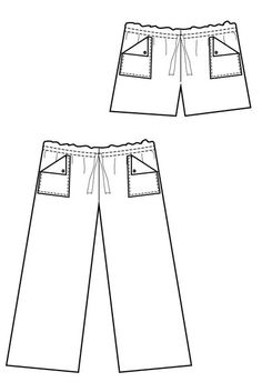 Line Drawing - Oceanside Pants Sewing Pattern - Drawstring Waist Pants by Blank Slate Patterns. love the pocket detail