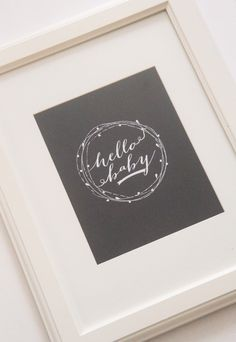 "How sweet is this ""Hello Baby"" wall print?! Perfect bold pop to your nursery gallery wall! #blackandwhite #pishposhbaby"
