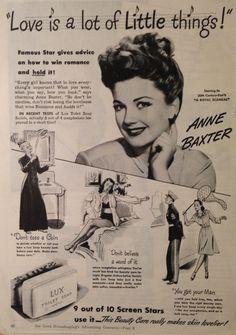 Ann Baxter y jabón LUX, 1945.