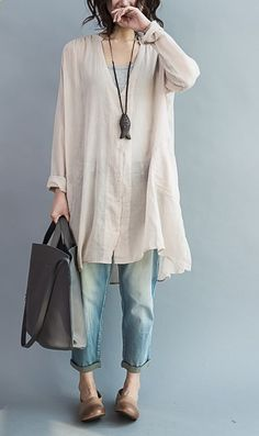 Long sleeve cozy cotton dress oversize tunic cotton shirts plus size cotton tops