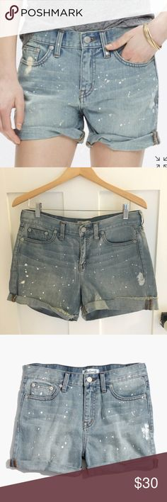 """Madewell Denim Boyshorts: Painter Edition Excellent Condition! Description from Madewell: Our denim shorts are made to fit just right—not too baggy, not too tight. Plus, they hit at the perfect place on the thigh to ensure maximum cool-girl legginess. We love the way the artfully hand-painted details give these perfectly faded cutoffs a lived-in look.    True to size, fixed waistband. 5"""" inseam. Cotton. Machine wash. Madewell Shorts Jean Shorts"""
