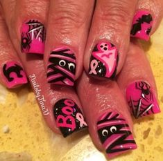 Nails 19 Breast Cancer Nails - A great way to promote during October with Halloween nails. Cute Halloween Nails, Halloween Nail Designs, Cool Nail Designs, Halloween Coffin, Halloween Ideas, Hair And Nails, My Nails, Breast Cancer Nails, Cotton Candy Nails