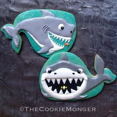 Shark Cookies~ By The Cookie Monger, grey shark Shark Cookies, Fish Cookies, Fancy Cookies, Iced Cookies, Cute Cookies, Royal Icing Cookies, Cupcake Cookies, Cupcakes, Lemon Cookies