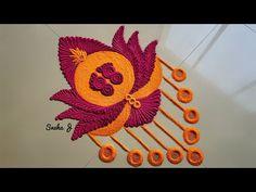Easy & quick rangoli for tulasi vivah design 2018 Easy Rangoli Designs Videos, Simple Rangoli Border Designs, Easy Rangoli Designs Diwali, Indian Rangoli Designs, Rangoli Designs Latest, Rangoli Designs Flower, Rangoli Patterns, Free Hand Rangoli Design, Small Rangoli Design