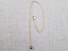 Black diamond drop necklace
