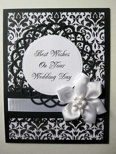 Elegant Wedding card black and white damask