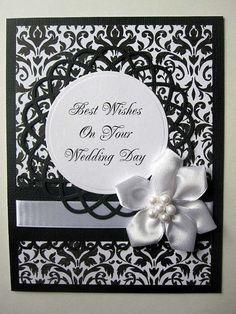 Elegant Wedding card black and white damask by BellaCardCreations, $4.25