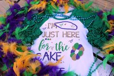 I'm Just Here For The Cake Ruffle Icing Raglan Mardi Gras Shirt, Girl's Mardi Gras Shirt NOLA Mardi Gras, Parade Shirt, Party Shirt by LaBandeauxBowtique on Etsy