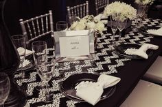 Black & White CHEVRON SEQUIN TABLECLOTH by ModernCelebrations