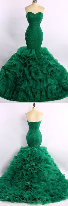 Organza Prom Dress, Mermaid Prom Dresses, Green Evening Gowns, Sweeetheart Party Dresses, Cheap Formal Dresses
