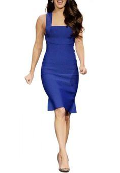 Strap Slim Flouncing Blue Dress