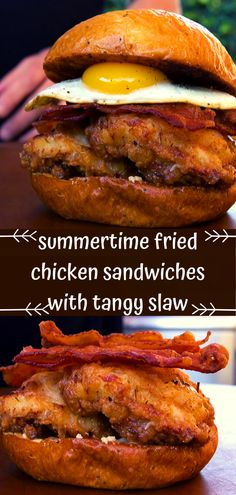 Summertime Fried Chicken Sandwiches with Tangy Slaw - Dewi Sagita Herbal Chicken Recipe, General Chicken Recipe, Famous Recipe Chicken, Crunchy Chicken Recipe, Easy Sesame Chicken, Crispy Chicken Recipes, Chicken Recipes For Two, Chinese Chicken Recipes, Fried Chicken Sandwich