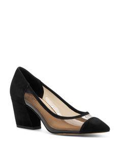 Botkier Women's Sadie Clear Pumps In Black Mid Heel Shoes, Pump Shoes, Black Pumps, Black Suede, Chunky Heel Pumps, Office Shoes, Kitten Heels, Sadie, Leather