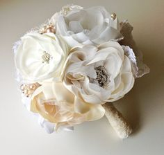 Fabric flower bouquet Brooch bouquet Vintage by Innstyches on Etsy, £200.00