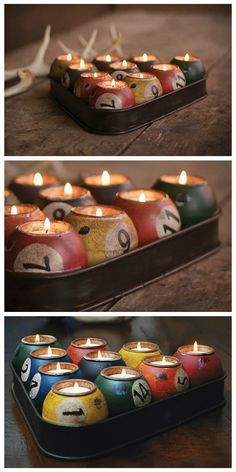 Create some tasteful and romantic lighting inside your house or apartment with this set of pool ball candles. Styled after the classic billiard triangle
