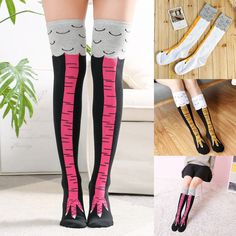 ad3f88f8991 US Women Girl Knee-High Socks Chicken Leg Fitness Thigh Stockings Funny 3D  Socks