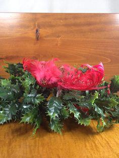 Red Clip Bird Christmas Ornament  Vintage Bird by SimplyAgain