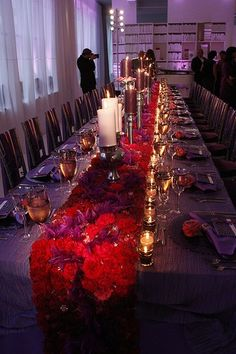 """Red carnation table runner...such a pretty warm glow, would be so pretty for a wedding...and, red carnation centerpieces- can you say """"Perfect Chi O reception!?"""""""