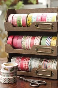 Ribbon and Washi Tape organization and storage---When you click the picture, there are no instructions.. it takes you to a website to sell washi tape.