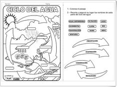 Nuestro rinconcito del agua.: FICHAS PARA EL CICLO DEL AGUA Earth Science, Science And Nature, Weather Unit, 5th Grade Science, Water Cycle, Interactive Notebooks, Life Cycles, Teaching English, Special Education
