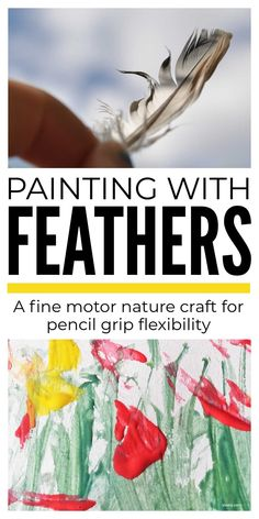 A lovely simple feather painting nature craft that build fine motor skills and pencil grip flexibility whilst helping children explore birds and the structure of feathers. #featherpainting #paintingwithkids #naturecraft #finemotorcraft #pencilgripcraft Pencil Grip, Feather Painting, Nature Table, Helping Children, Nature Study, Nature Journal, Photosynthesis, Process Art, Nature Crafts