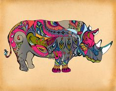 Rhino Art Print ~ GreenGirlCanvas @ Society6