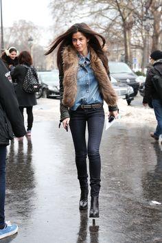 Barbara Martello, black jeans, denim shirt. Paris Street style
