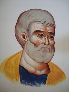 Face of Apostle Peter.  Style of Panselinos. Stage 4.